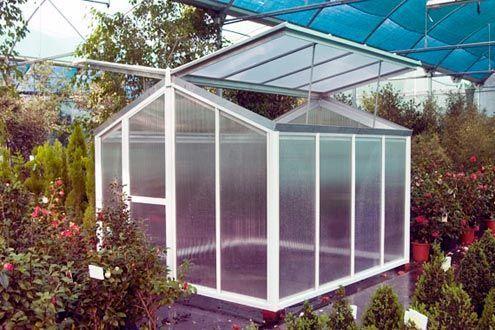 Mini-invernadero Gardenlux con el techo abierto