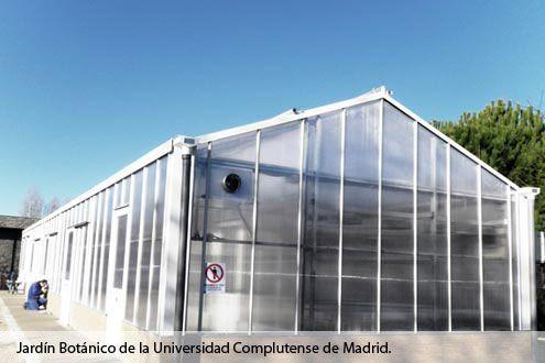 Invernadero de policarbonato Reylux en el Jardín Botánico de la Universidad Complutense de Madrid