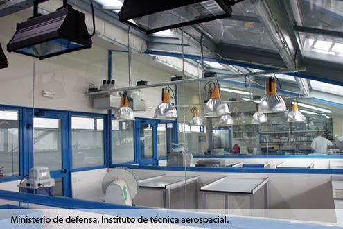 Instalación de iluminación artificial Sistemas D.R. en el Instituto de Técnica Aeroespacial Ministerio de Defensa