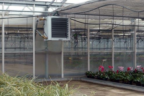 Instalación de Aerotermos de agua caliente en invernadero