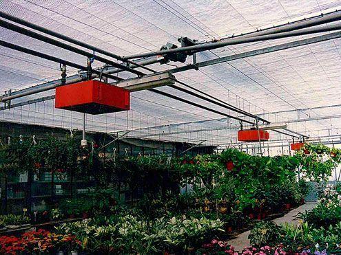 Calefacción mediante aerotermos de agua caliente. Instalación en vivero llevada a cabo por Sistemas D.R.