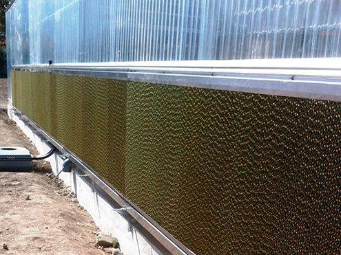 Panel humidificador lateral en invernadero para Enfriamiento evaporativo funcionamiento por depresión. Colling system Sistemas D,R,