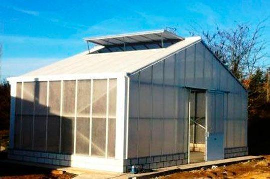 Invernadero de Gama Alta Reylux R9 con cubierta de policarbonato celular.