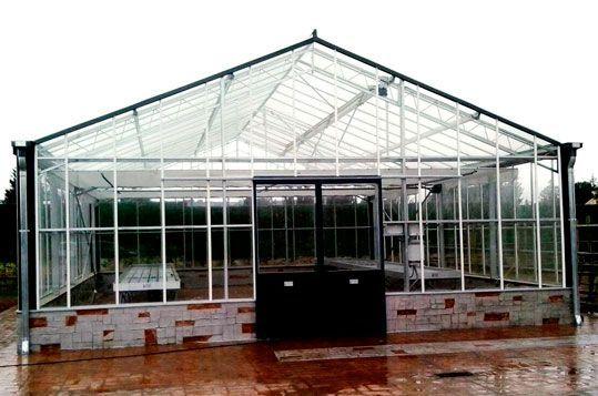 Invernadero de Gama Alta Reylux con cubierta de vidrio. Vista Frontal