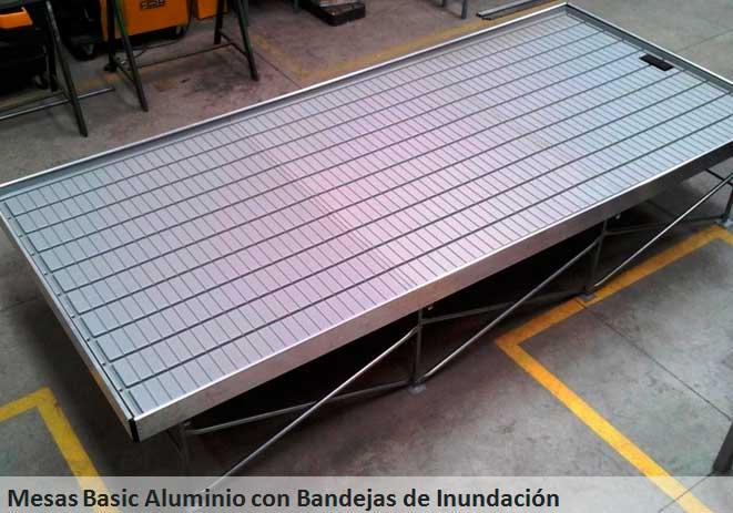 Mesas de cultivo basic aluminio con bandejas de inundación