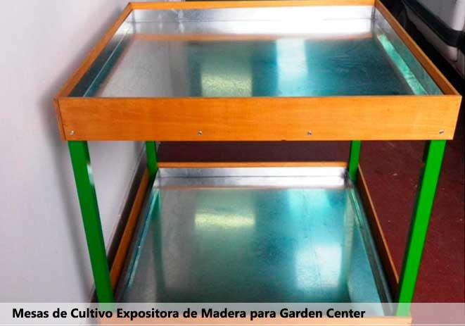 Mesa expositora con madera para centros de jardinería