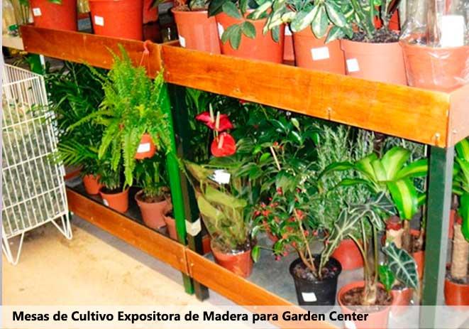 Mesa de cultivo expositora con madera para garden center