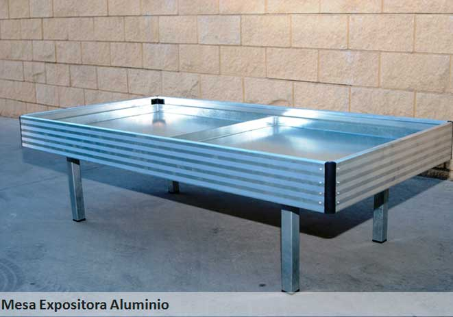 Mesa de cultivo expositora basic aluminio Sistemas D.R.