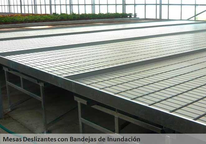 Mesas de cultivo deslizantes o rodantes con bandejas de inundación
