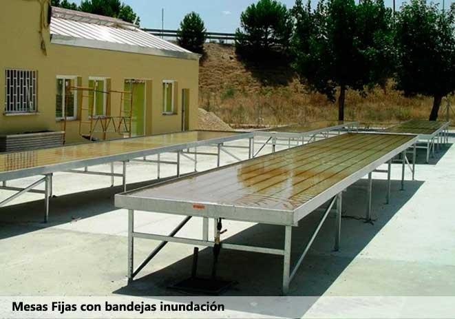 Mesas fijas con bandejas de inundación Sistemas D.R.