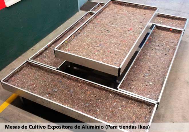 Mesas de cultivo expositora de aluminio (Para tiendas IKEA)