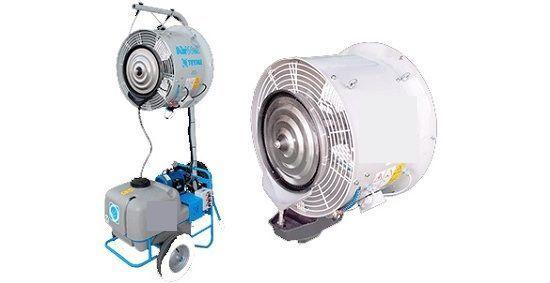 Sistema humidificador con ventilador para invernaderos